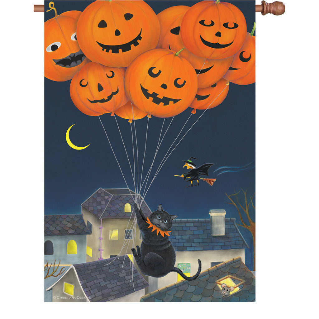 28 in. Halloween House Flag - Black Cat with Balloons