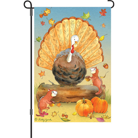 12 in. Thanksgiving Garden Flag - Turkey and Friends