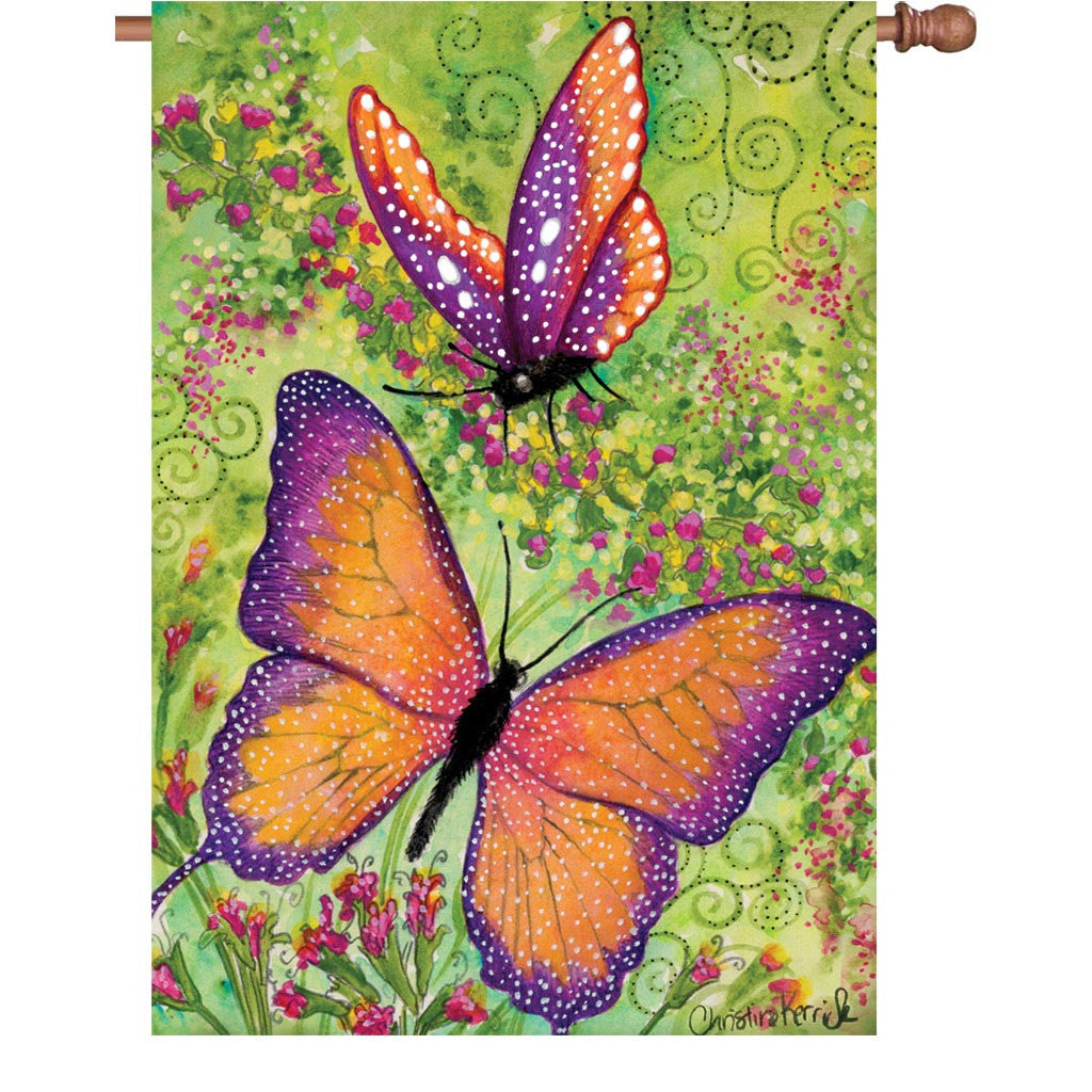 28 in. Butterfly House Flag - Butterfly Sparkles