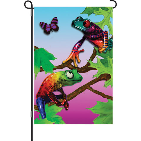 12 in. Tree Frog Garden Flag - Frolicking Frogs