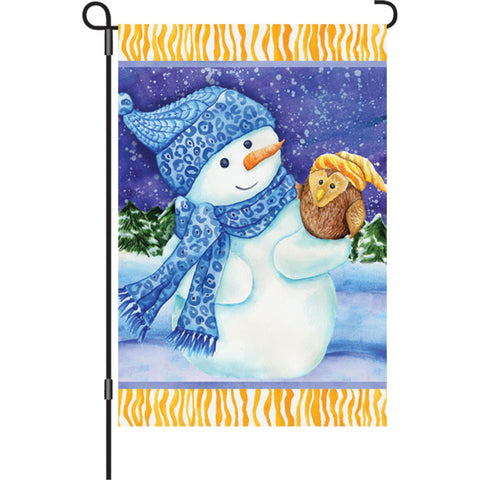 12 in. Christmas Garden Flag - Snowman and Owl