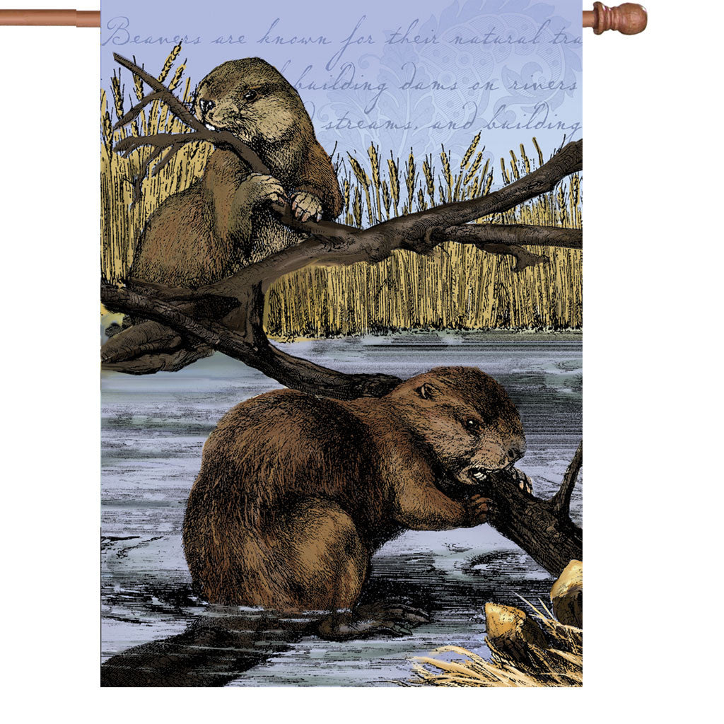 28 in. Vintage House Flag - Busy Beaver