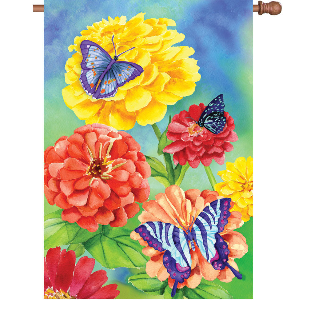 28 in. Butterfly House Flag - Butterfly Garden