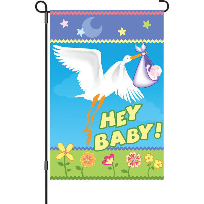 12 in. Baby Shower Garden Flag - Here Comes Baby