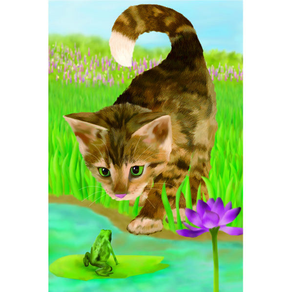 12 in. Frog & Cat Garden Flag - Nice to Meet You