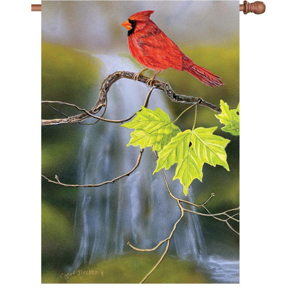28 in. Springtime Bird House Flag - Cardinal & Waterfall