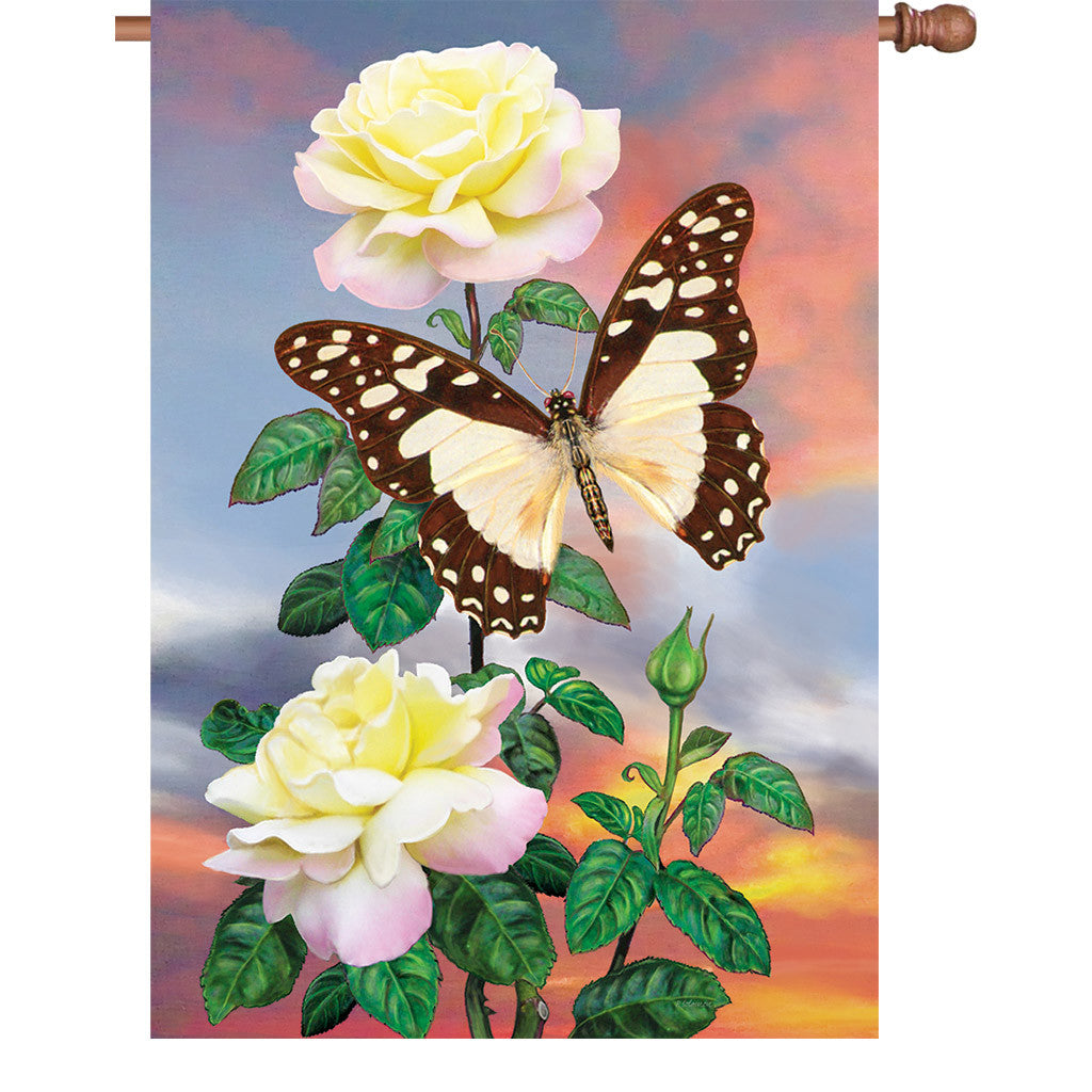 28 in. Butterfly House Flag - White Lady Swallowtail