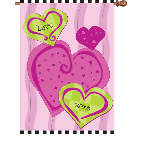 28 in. Valentine's Day House Flag - Hugs & Kisses