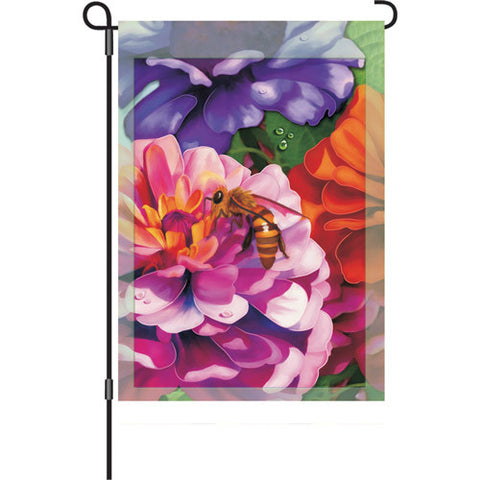 12 in. Honey Bee Garden Flag - Zinnias