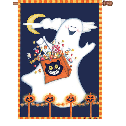 28 in. Halloween House Flag - Candy Ghost