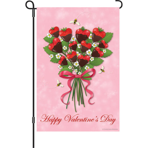 12 in. Valentine's Day Garden Flag - Strawberry Bouquet