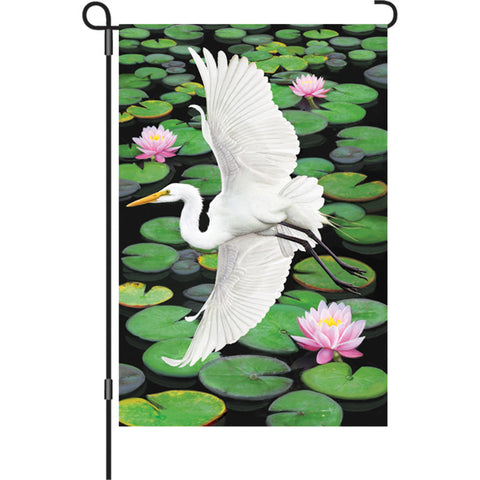 12 in. Lotus Pond Garden Flag - Egret Elegance