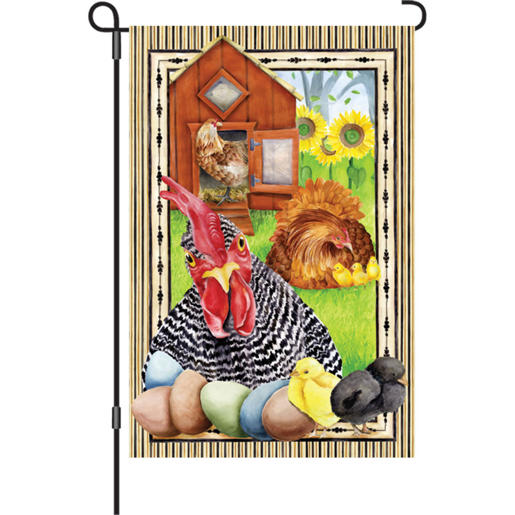 12 in. Country Farm Garden Flag - Not Cooped Up