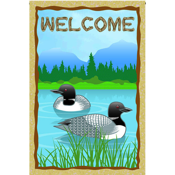 12 in. Lake Bird Garden Flag - Loon Welcome