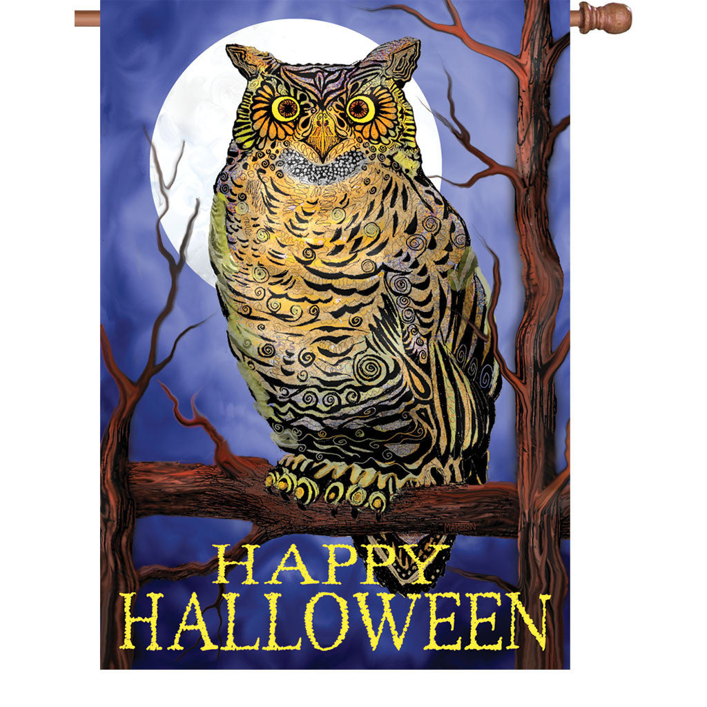 28 in. Halloween House Flag - Owl and Moon Happy Halloween