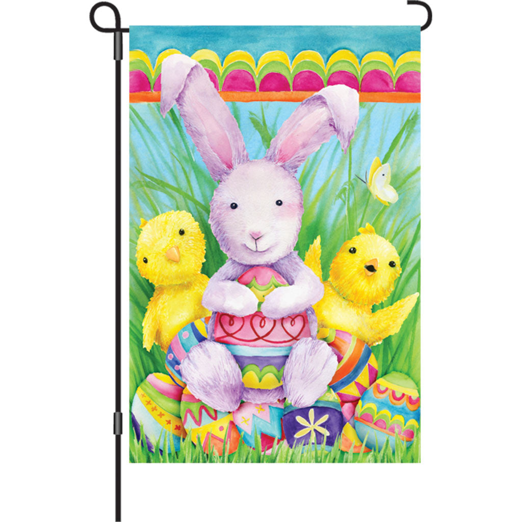 12 in. Easter Garden Flag - Bunny and Friends