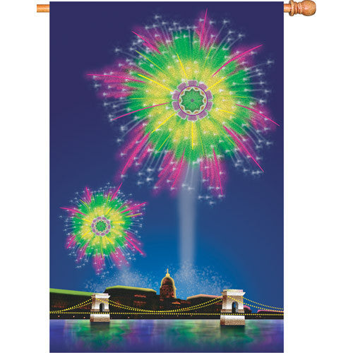 28 in. Fourth of July House Flag - Fireworks Fantasy