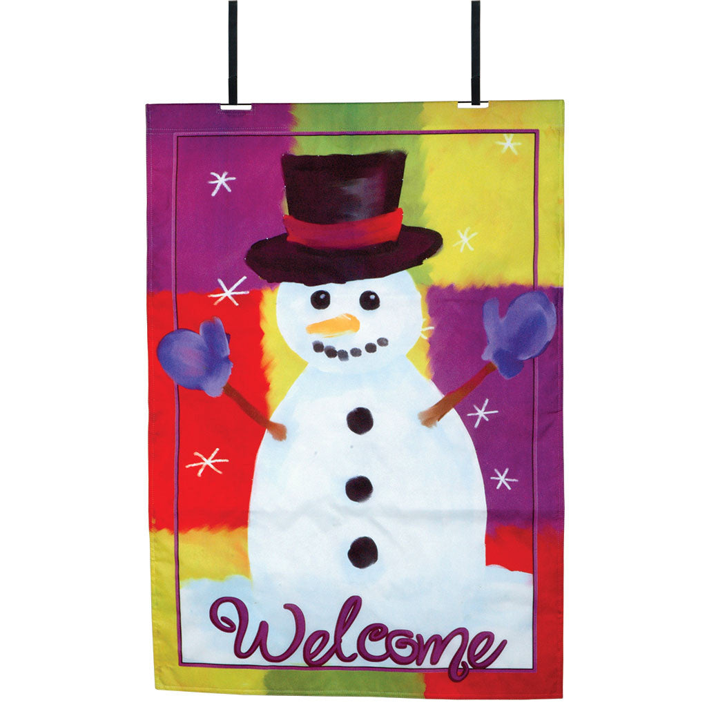 Welcome Snowman Christmas Fiber-Optic Door Flag