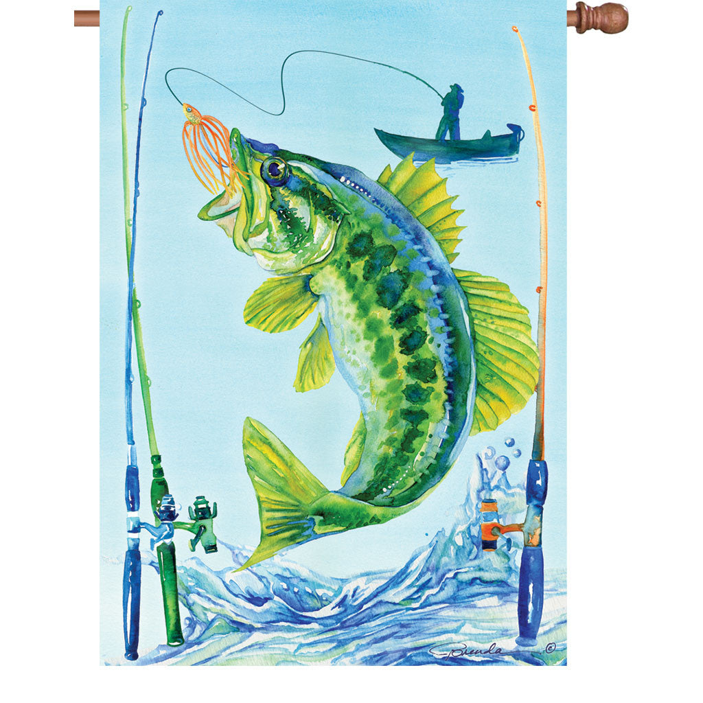 28 in. Fishing House Flag - Bass Fish