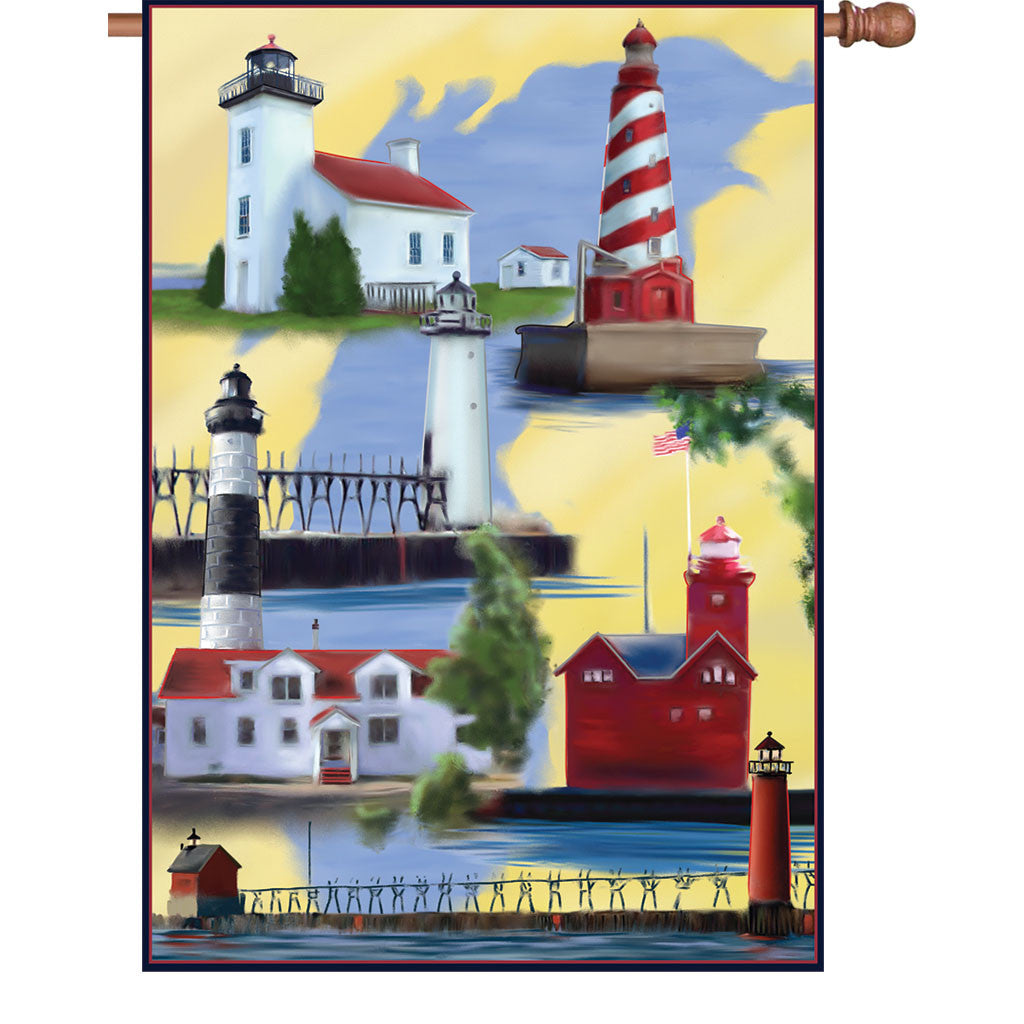 28 in. Coastal Lighthouse House Flag - Michigan Lighthouses