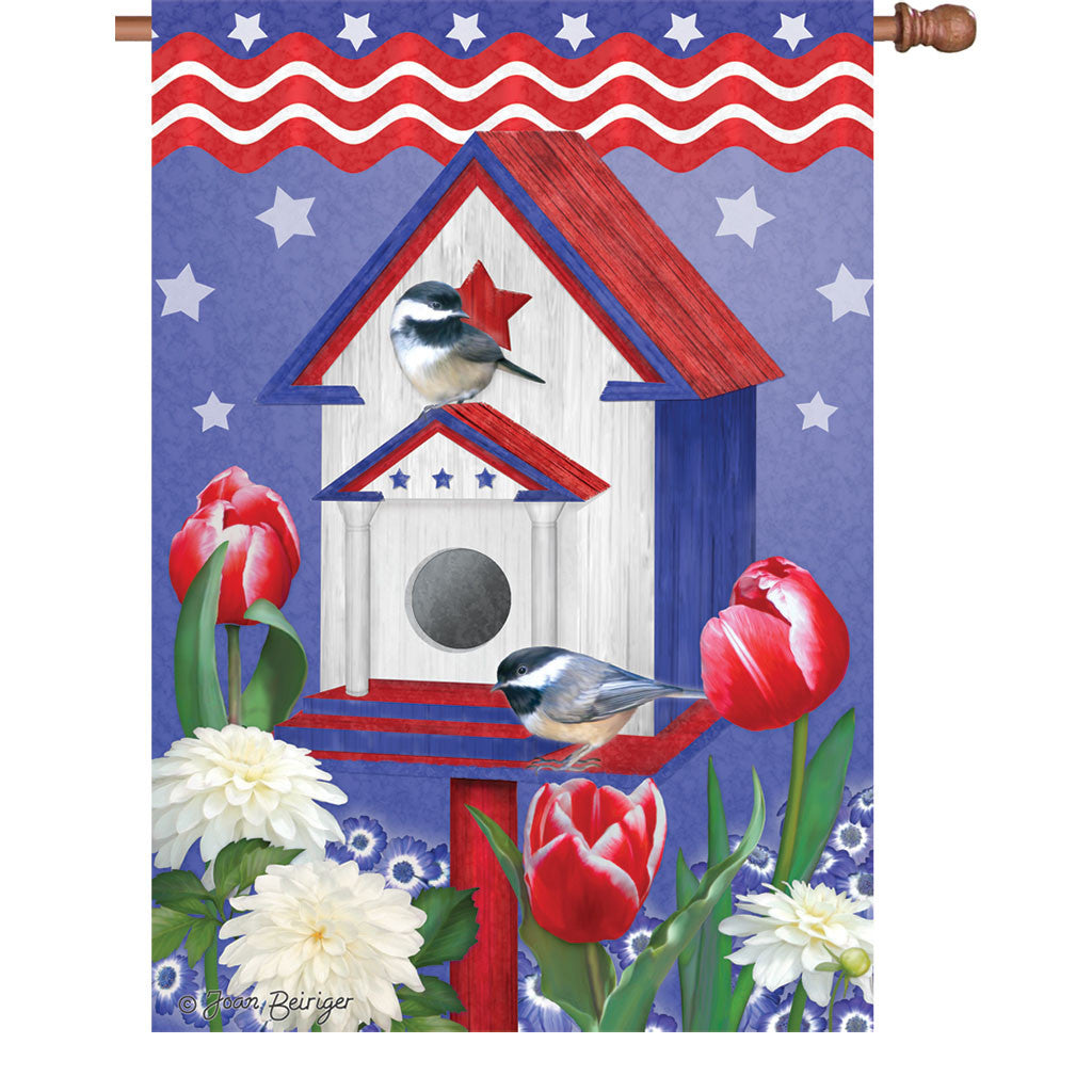 28 in. Summer Bird House Flag - Patriotic Birdhouses
