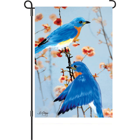 12 in. Bird Garden Flag - Bluebirds in the Spring
