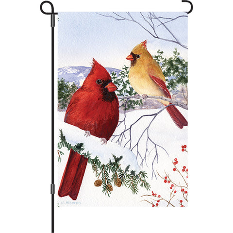 12 in. Winter Snow Bird Garden Flag - Cardinals & Hemlock
