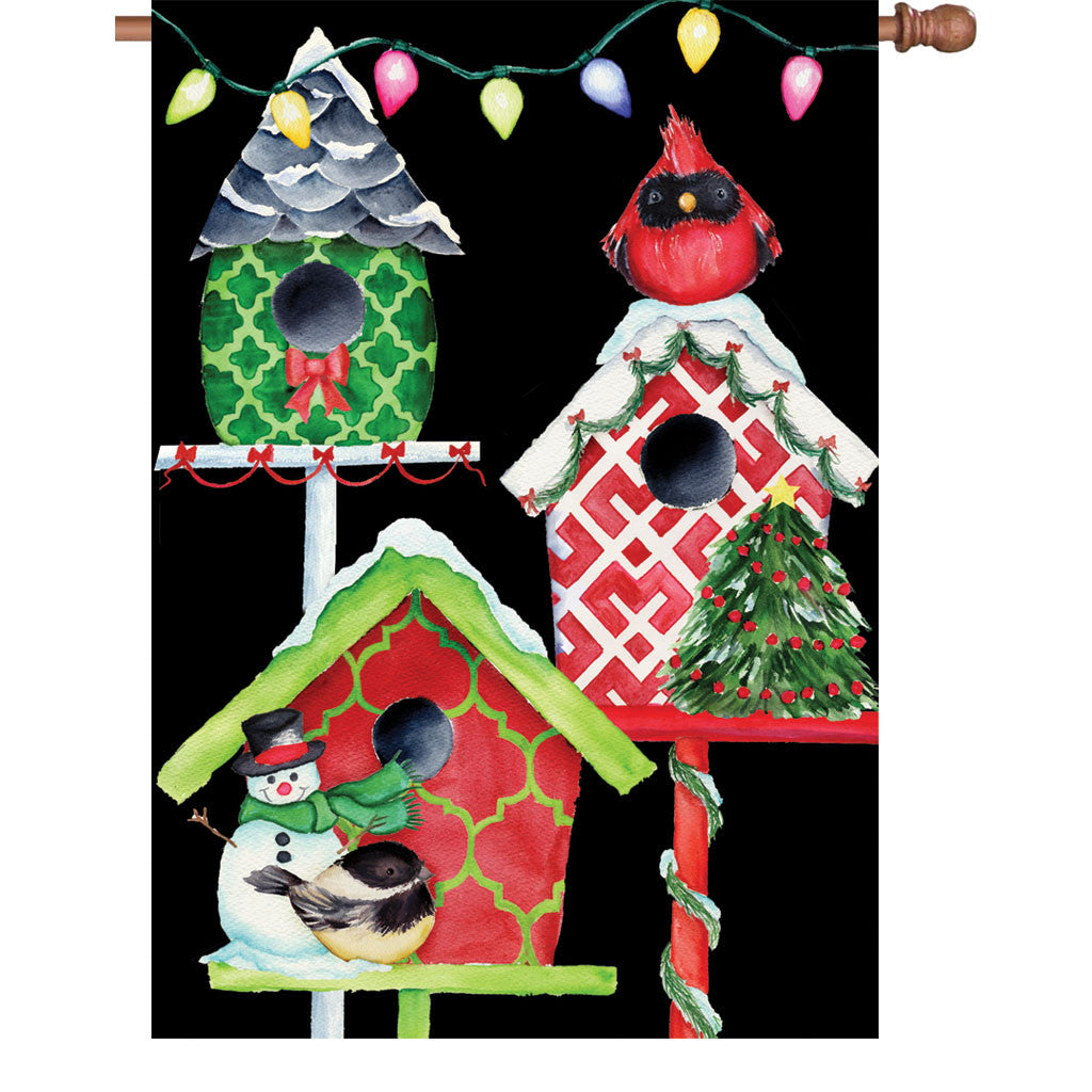 28 in. Christmas House Flag - Christmas Birdhouse