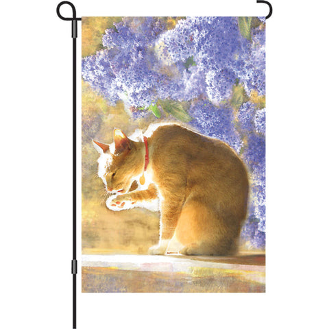 12 in. Cat Garden Flag - Bathing Tabby