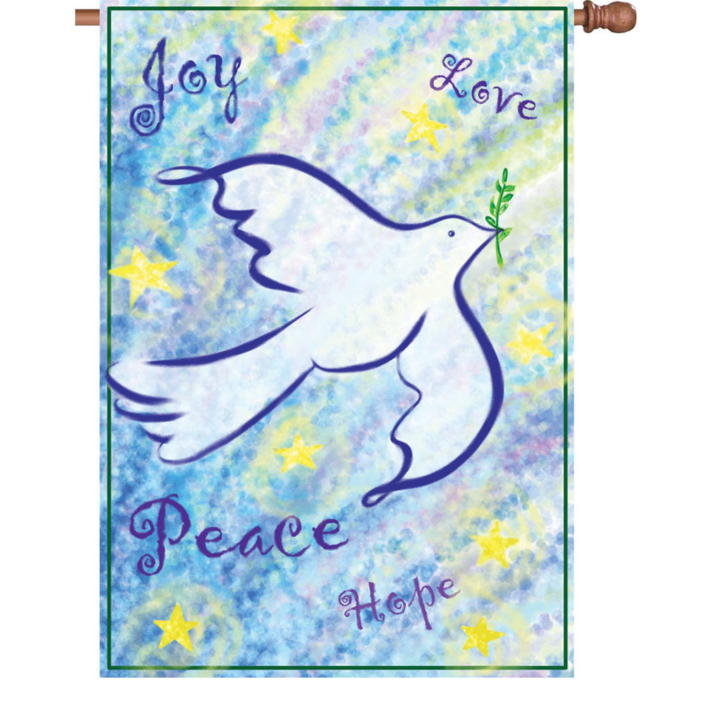 28 in. Christmas House Flag - Peace & Joy