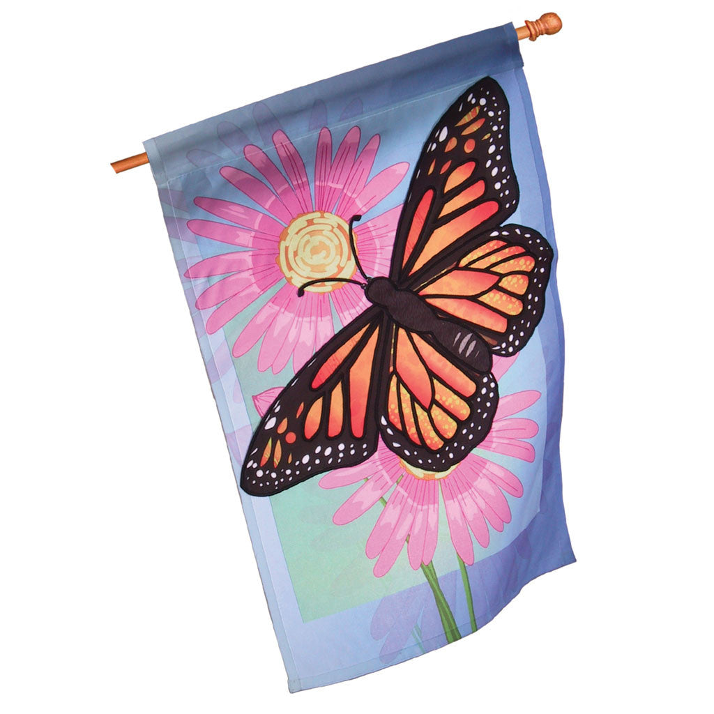 28 in. Butterfly House Flag - Merry Monarch