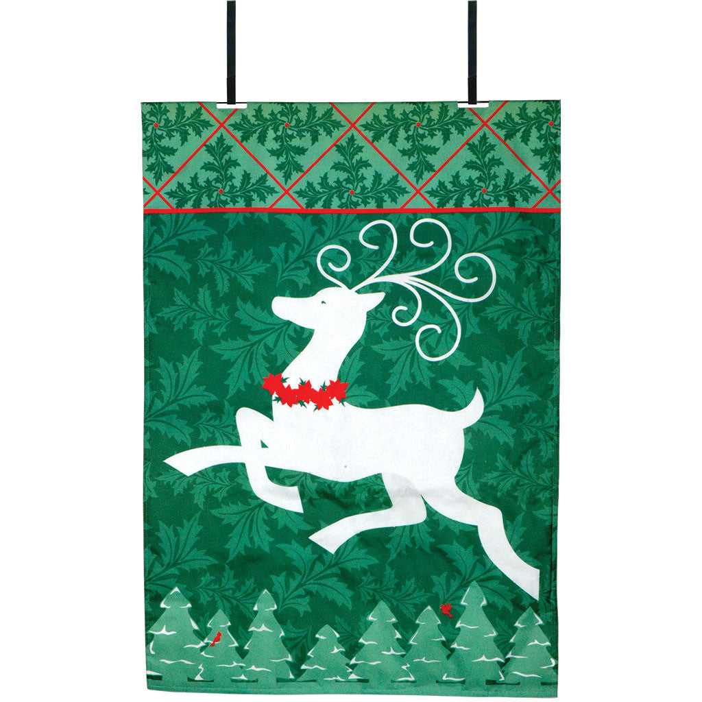 Joyful Reindeer Christmas Fiber-Optic Door Flag