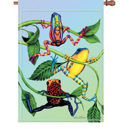 28 in. Tree Frog House Flag - Hanging Tree Frogs