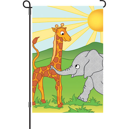 12 in. Elephant & Giraffe Garden Flag - Zoo Pals
