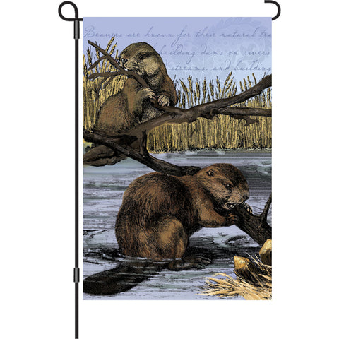 12 in. Vintage Garden Flag - Busy Beaver
