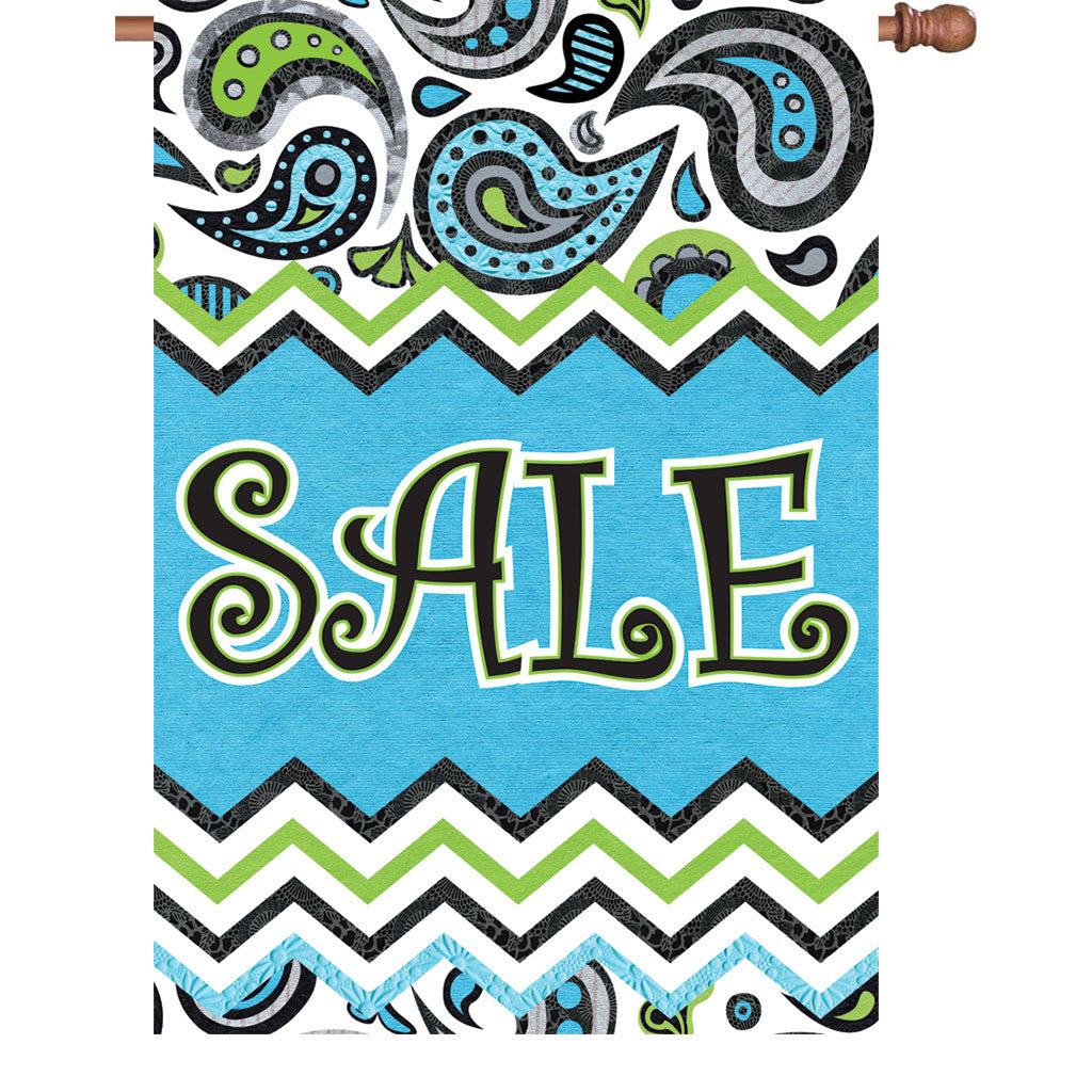 28 in. Sale House Flag - Paisley Design