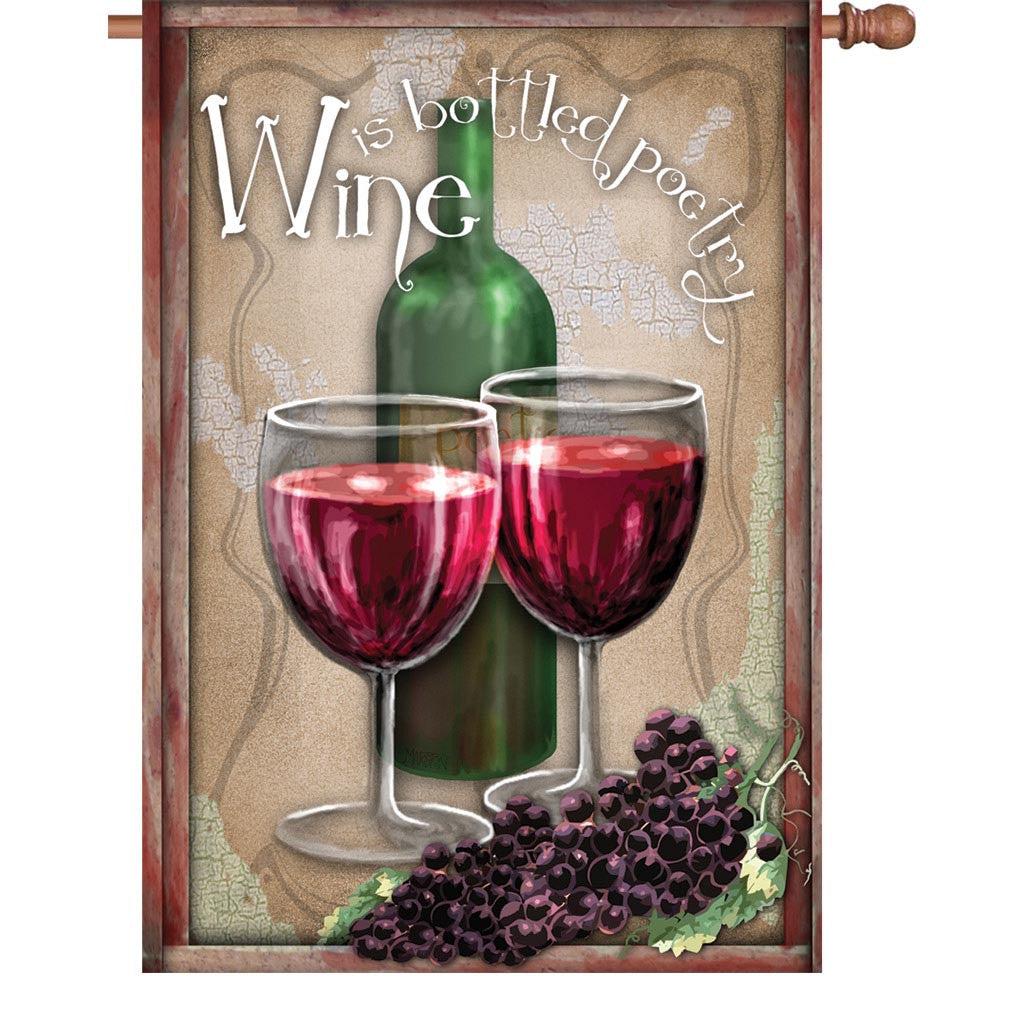 28 in. Wine Themed House Flag - Bottled Poetry