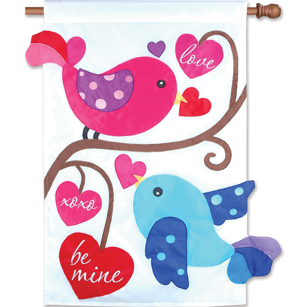 Double-Sided Valentine's Day Applique Flag - Love Birds