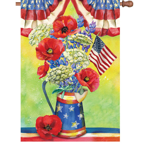 28 in. Memorial Day House Flag - Patriotic Bouquet