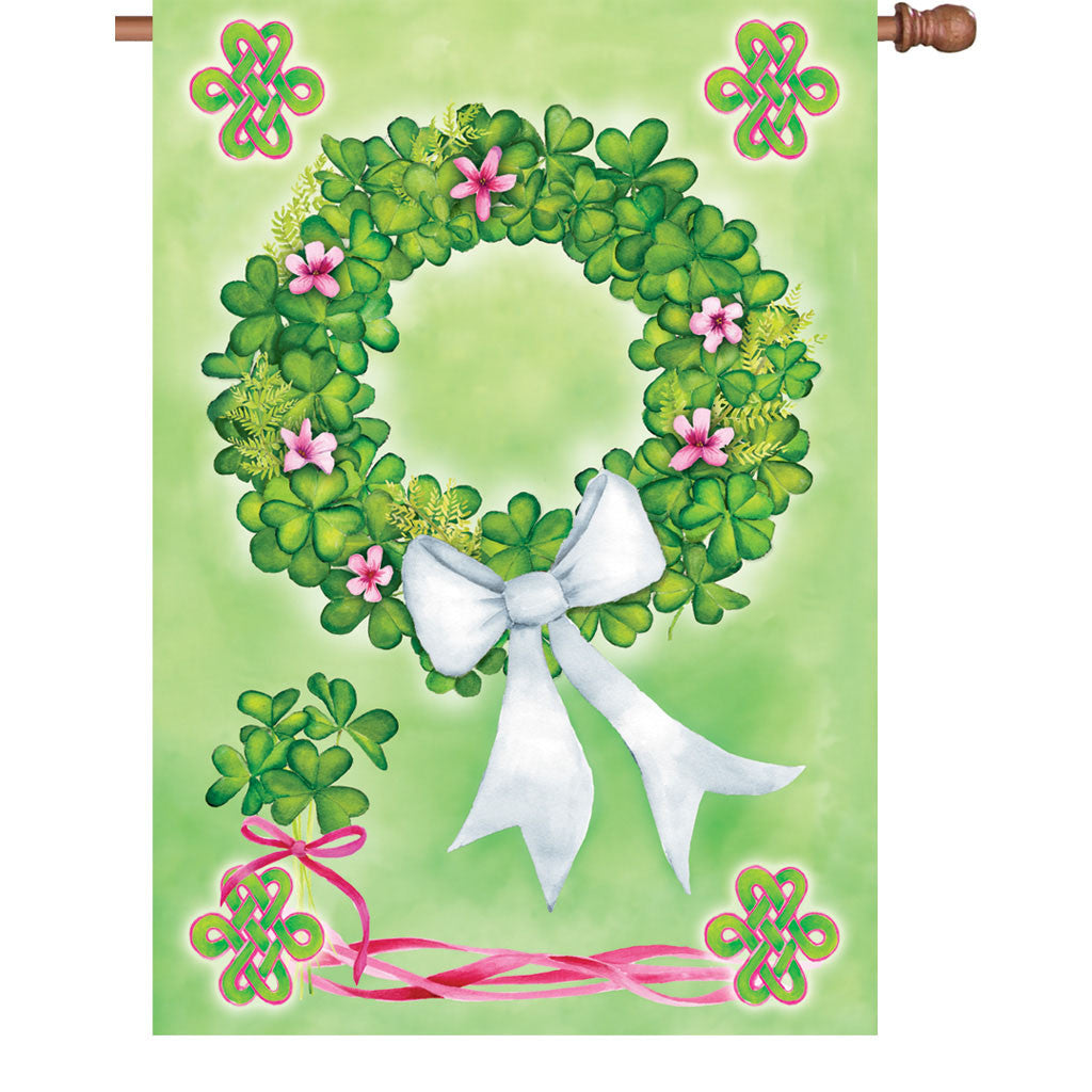 28 in. St. Patty's Day House Flag - Shamrock Wreath