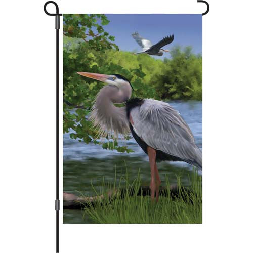 12 in. Marsh Bird Garden Flag - Majestic Heron