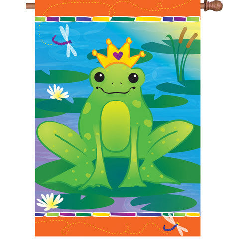 28 in. Green Frog House Flag - Prince Charming