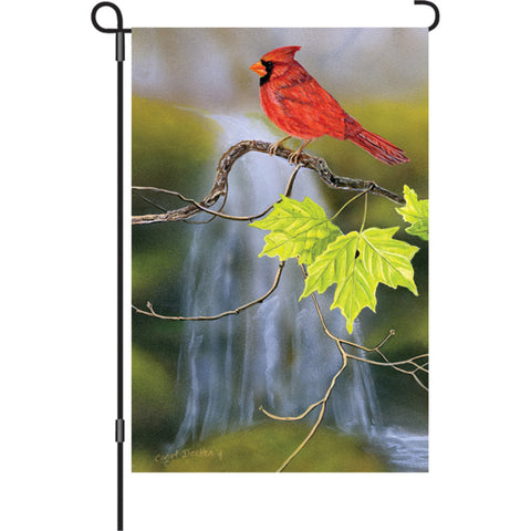 12 in. Springtime Bird Garden Flag - Cardinal and Waterfall