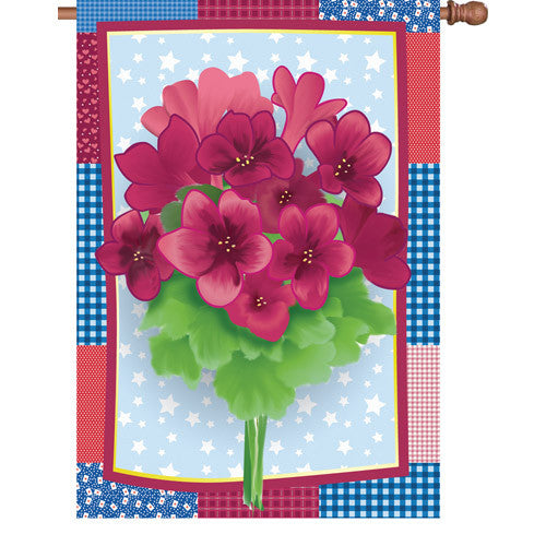 28 in. Flowers House Flag - Country Geraniums