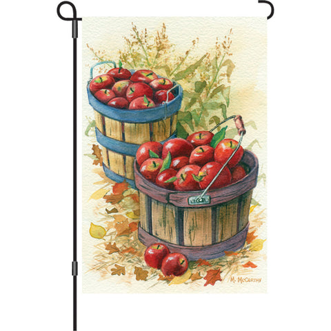 Fall Harvest Garden Flag   Apple Basket And Cornstalks