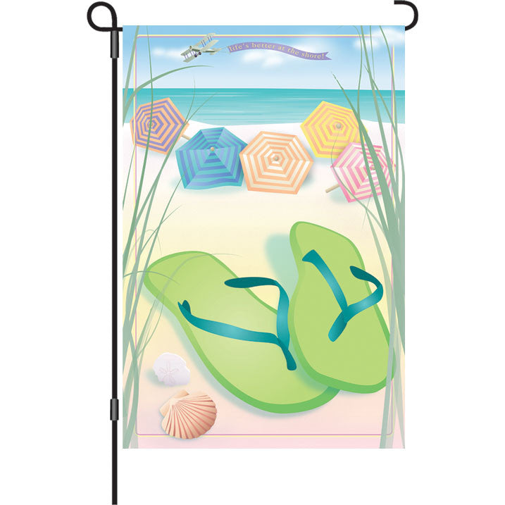 12 in. Flip Flops Garden Flag - Better at the Shore