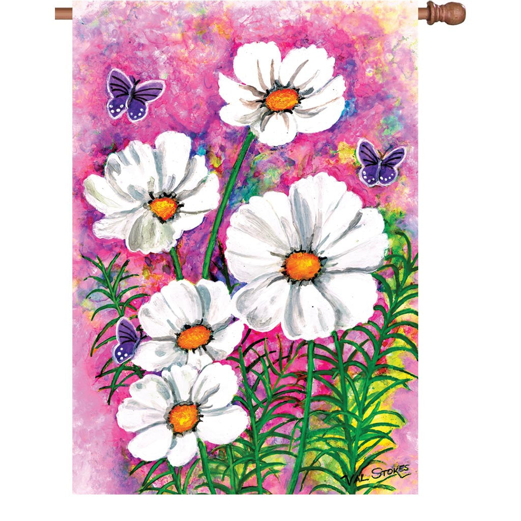 28 in. Summertime Floral House Flag - Cosmos Cluster
