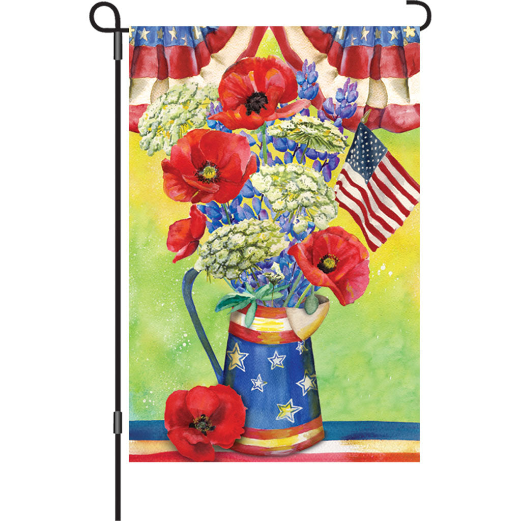 12 in. Memorial Day Garden Flag - Patriotic Bouquet