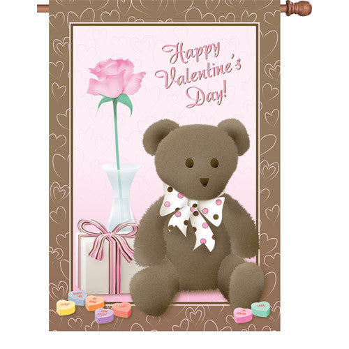 28 in. Valentine's Day House Flag - Valentine's Teddy Bear