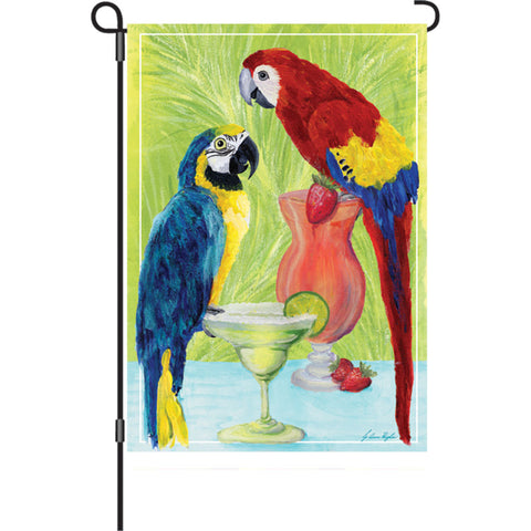 12 in. Margaritaville Garden Flag - Party Parrots